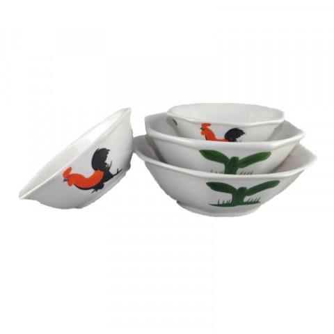Octagon Chicken Pattern Bowl 7 inches