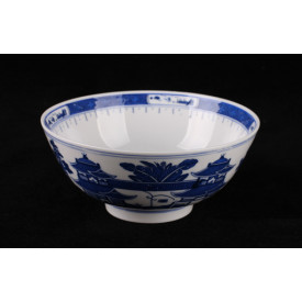 Blue & White China Mountains Curve Edge Bowl 7 inches