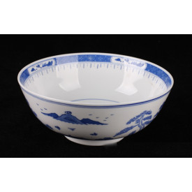 Blue & White China Mountains Curve Edge Bowl 8 inches