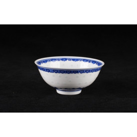 Blue & White China Translucent Dot Pattern Curve Edge Bowl 5 inches