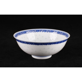 Blue & White China Translucent Dot Pattern Curve Edge Bowl 6 inches