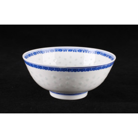 Blue & White China Translucent Dot Pattern Soup Bowl 7inches