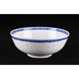 Blue & White China Translucent Dot Pattern Soup Bowl 8 inches