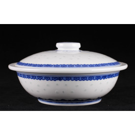 Blue & White China Translucent Dot Pattern Steam Pot with Lid 9 inches