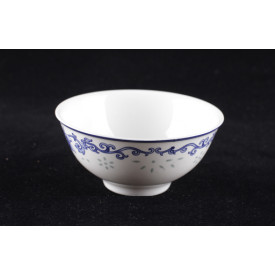 Blue & White China Lotus Translucent Pattern Curve Edge Bowl 4 inches