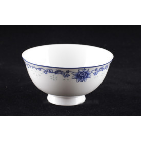 Blue & White China Lotus Translucent Pattern Curve Edge Bowl 5 inches