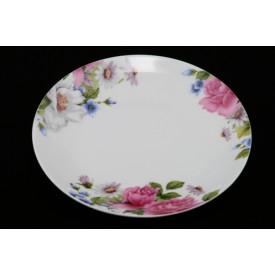 陶器の丸皿 高貴な花柄 7.5″