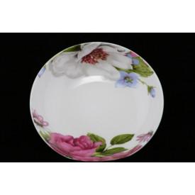 陶器の丸皿 高貴な花柄 4″