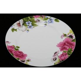 陶器のリム皿 高貴な花柄 10″