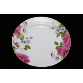 陶器のリム皿 高貴な花柄 6″
