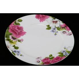 陶器のリム皿 高貴な花柄 8″