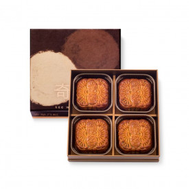 Kee Wah Bakery Maltitol Low Sugar White Lotus Seed Paste Mooncake with Two Yolks 4 pieces