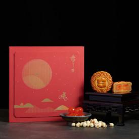 アイランド シャングリ・ラ ホテル 香港 白蓮餡(蓮の実白あん)、卵黄入り月餅 4枚