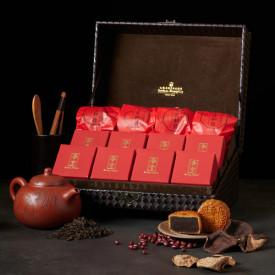 アイランド シャングリ・ラ ホテル 香港 50年物のマンダリンピールを使った特製小豆餡月餅(あんこ月餅)、マンダリンピール入りプーアル団茶