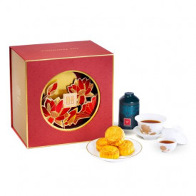 The Peninsula Hong Kong Egg Custard Mini Mooncake, Chinese Fine Tea, Bone China Tea Set Gift Box