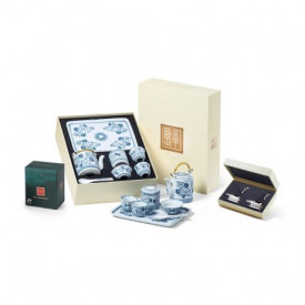 The Peninsula Hong Kong Chinese Porcelain Tea Set, Chinese Junk Silver Plated Chopstick Rests and Assorted Tea Bags Gift Box