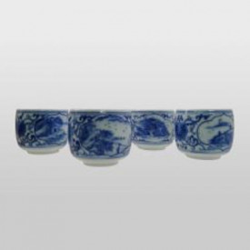 Ying Kee Tea House Blue and white Porcelain Cup Set 4 Cups