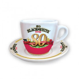 Black & White 80th Anniversary Version Mini Tea Cup with Saucer