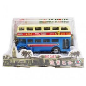 Sun Hing Toys Hong Kong Old Bus Blue Color 16cm x 9cm x 7cm