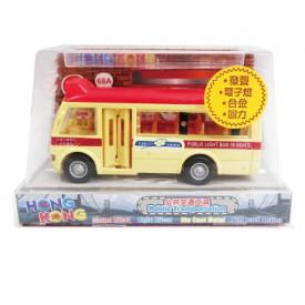 Sun Hing Toys Hong Kong Red Public Minibus with Sound & Bright Flashing Light 14cm x 8.3cm