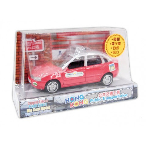 Sun Hing Toys Hong Kong Taxi Red Color with Sound & Bright Flashing Light 6.7cm x 6.4cm x 9.3cm