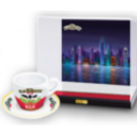Black & White Miniature Display Case with Tea Cup and Saucer